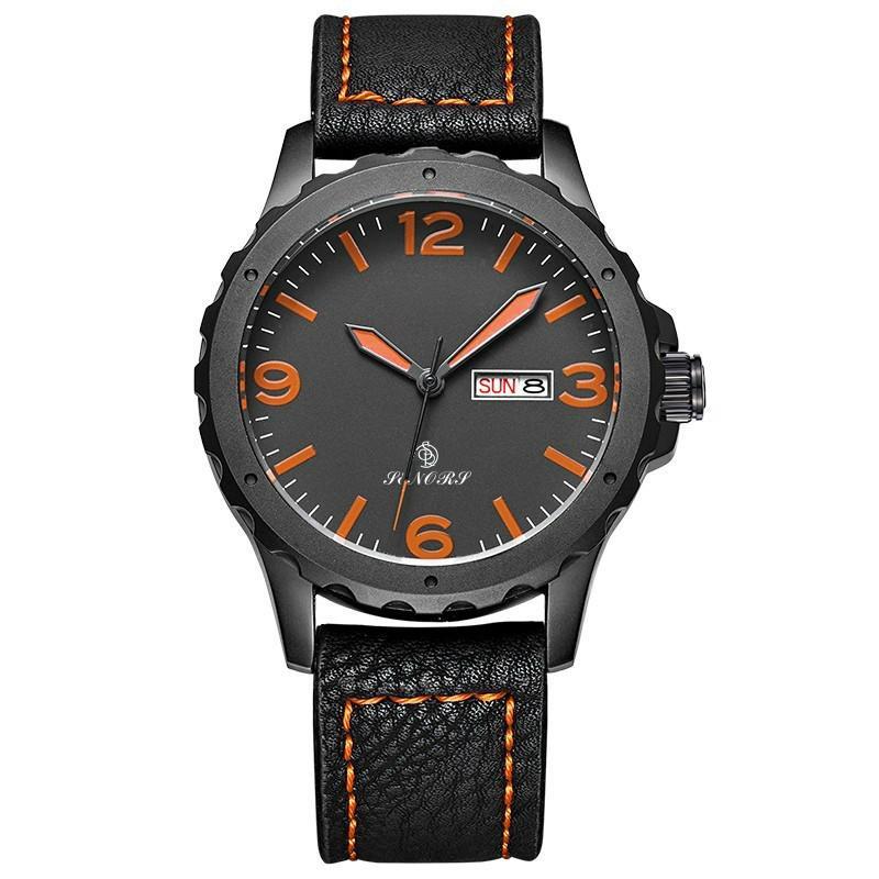 新款意大利真皮皮带日本进口石英机芯手表双日历手表批发 5