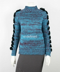 Lady's Long Sleeve Turtle Neck Sweater