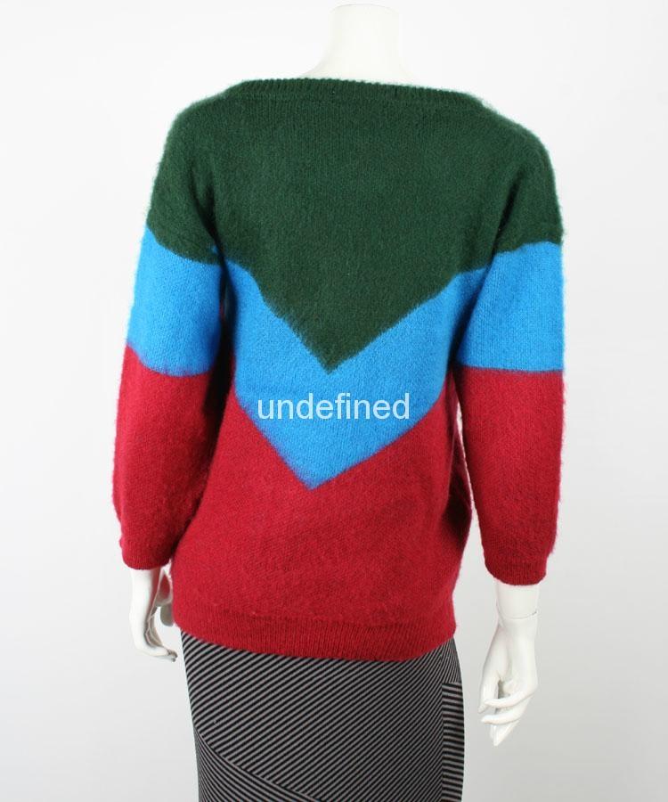 Ladies V Neck Off Shoulder Color Combination Sweater 3