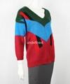 Ladies V Neck Off Shoulder Color Combination Sweater 2