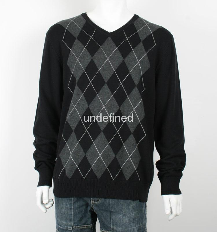 Men's V neck Thin Argyle Sweater 1