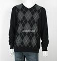 Men's V neck Thin Argyle Sweater