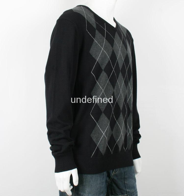 Men's V neck Thin Argyle Sweater 2