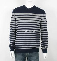Men's V neck Striped Sweater