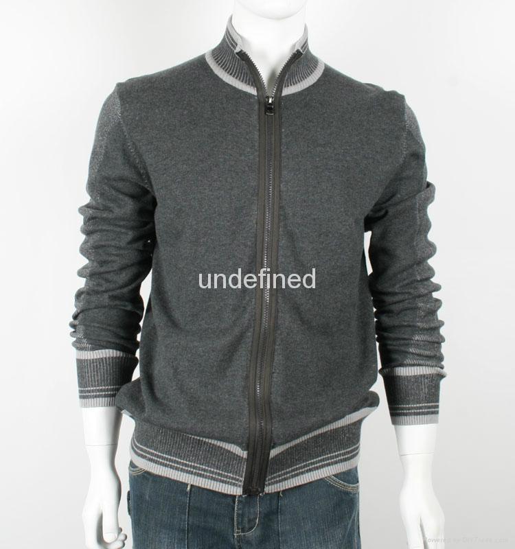 Light Weight Full Zip Grey Knit Cardigan For Men 1