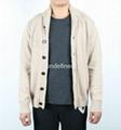 Plain Knit Big Button Cotton Cardigan