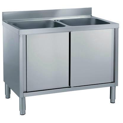 Kindelt Commercial Kitchen Cupboard Sink with Double Bowls Sound Deadening 1