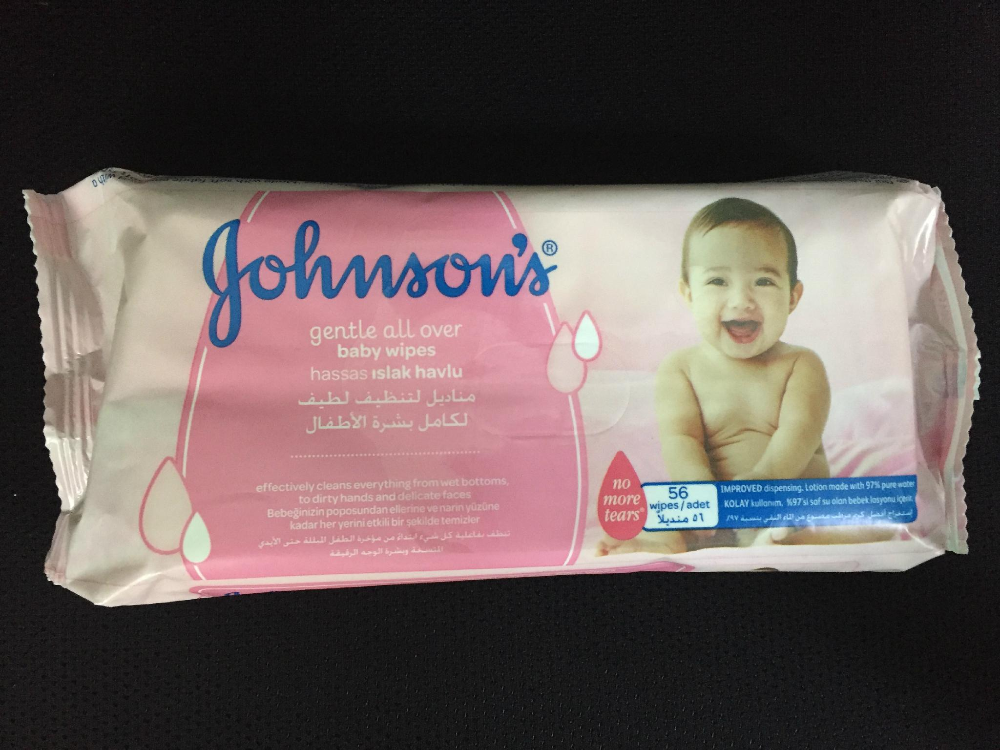 JHONSON'S GENTLE ALL OVER BABY WIPES 56'S 1