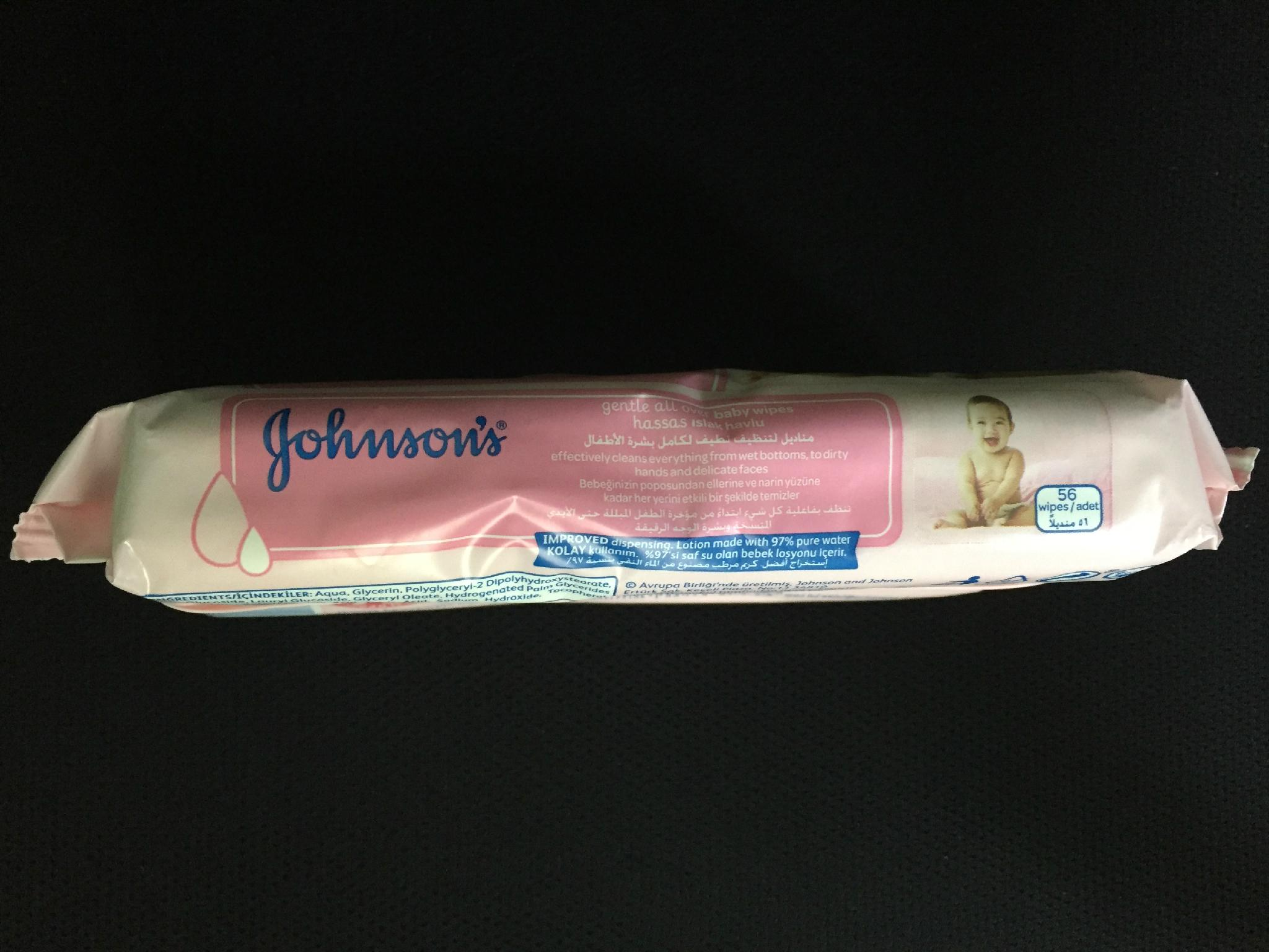 JHONSON'S GENTLE ALL OVER BABY WIPES 56'S 3