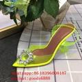 wholesale Amina Muaddi Transparent And Si er Tone Begum Crystal 95 PVC for women