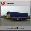 3 Axles 45Tons Flatbed Container Tipping