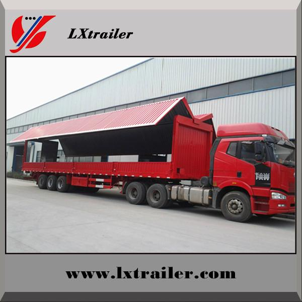 3 Axles 45Tons Flatbed Box Lifting Open Semi Trailer  3