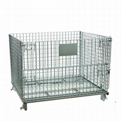 Foldable stackable heavy duty storage wire mesh container