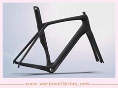Good quality Aero  Carbon Fiber Road Bike Racing Vbrake Frame accept book