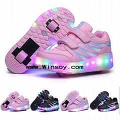 Children Wheels Roller Shoes For Girls Boys LED Light Up Roller Skate Trainers F