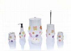 flower painting polyresin bathroom sets