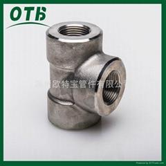 高压锻造管件不锈钢碳钢螺纹丝口三通NPT/RC3000lbs/6000lbs/9000lbs