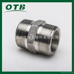 高压管件不锈钢碳钢304/316L六角外丝管接头短管加厚