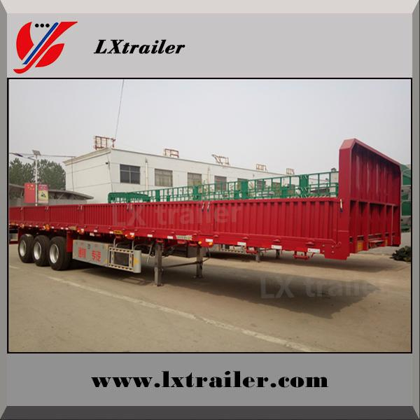 Howo tractor truck use tri axle flatbed drop side wall semi trailer dimensions 2