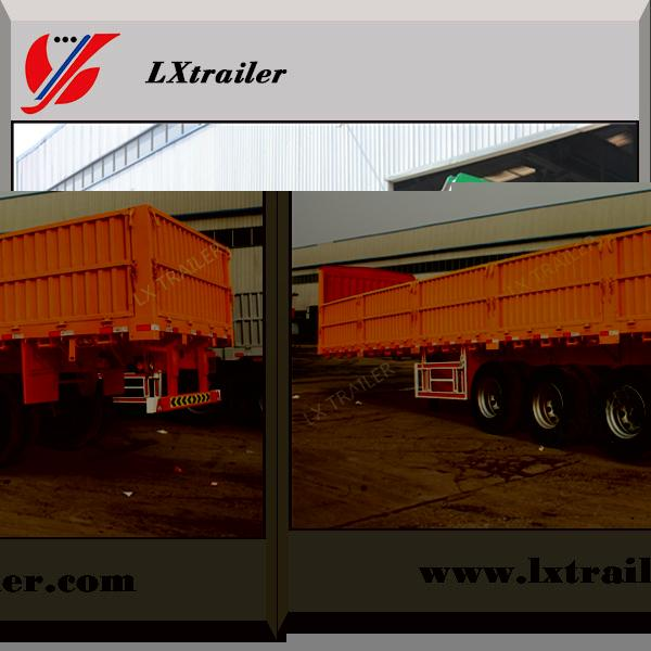 Howo tractor truck use tri axle flatbed drop side wall semi trailer dimensions 4