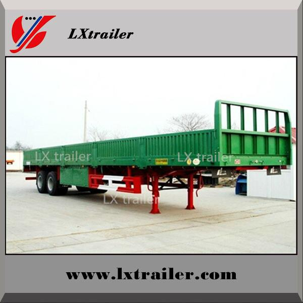 Howo tractor truck use tri axle flatbed drop side wall semi trailer dimensions 5