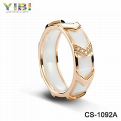 Wholesale Fashion Jewelry Brand Inlay Zircon Ceramic 925 Silver Ring