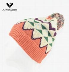 Stylish Multicolor Geometry Jacquard Knit Hat with Pompom