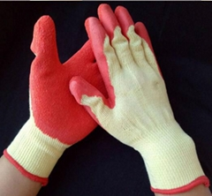 10gauge polycotton grip wrinkle latex coated gloves