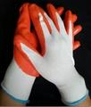 Orange nitrile coated gloves for working