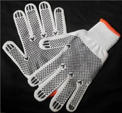 pvc dotted cotton knitted golf gloves for personal protection