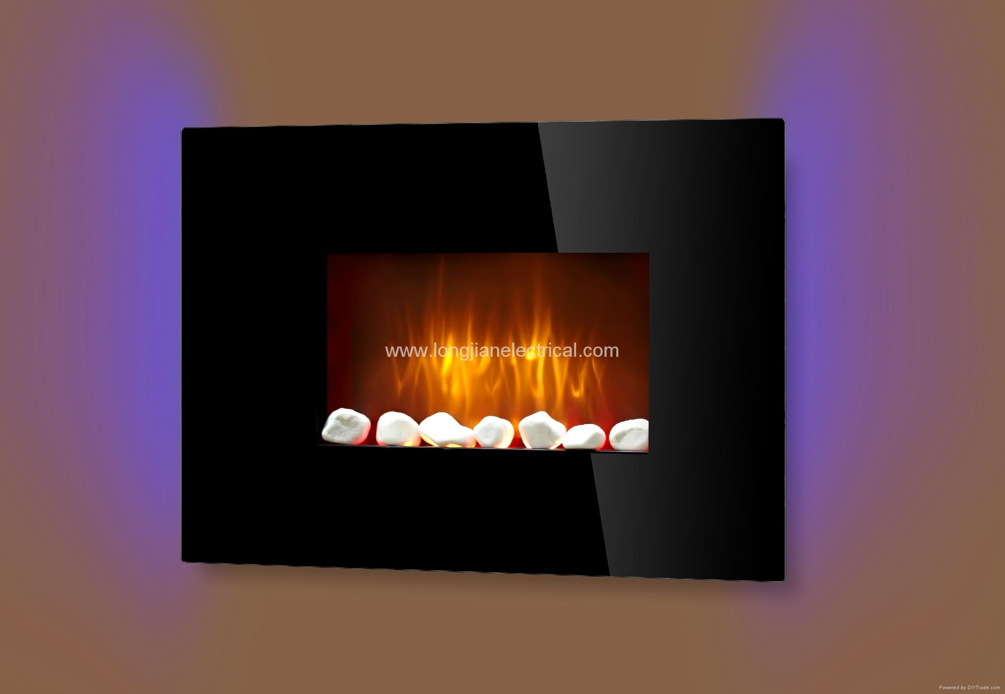 LED Electric Wall Mounted Fireplace Fan Heater with Remote Control LJHF3702E 2