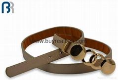 Ladies Gold Buckle Skiny Belt