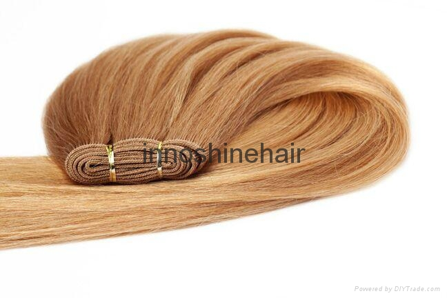 Double Drawn Brown Remy Human Hair Weft hair weaving 1