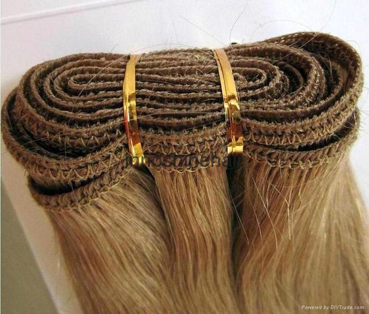 Double Drawn Brown Remy Human Hair Weft hair weaving 2