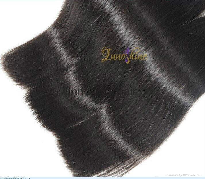 Wholesale Double drawn Silky straight human hair weft hair weaving 1