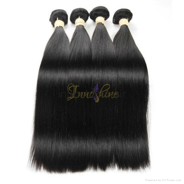 Wholesale Double drawn Silky straight human hair weft hair weaving 2