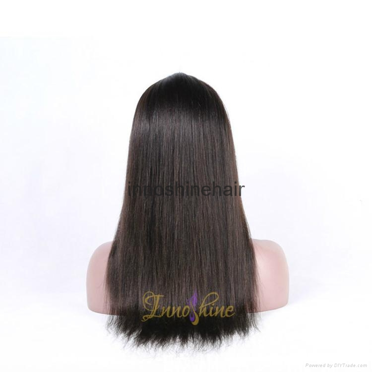 100% Wholesale Virgin  Human Hair silky straight Remy Full Lace Wig 2