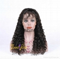 100% Wholesale Virgin  Human Hair water wave Remy Full Lace Wig 2