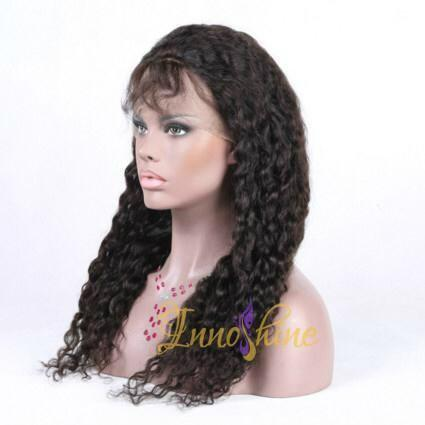100%Wholesale cheap Good Quality Brazilian  Water Wave Human Hair Full Lace Wig  2