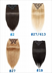 100% Best Hair Extensions Virgin Straight Remy Human Hair Clip in Hair Extension
