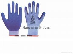 10G TC gloves Latex coated crinkle