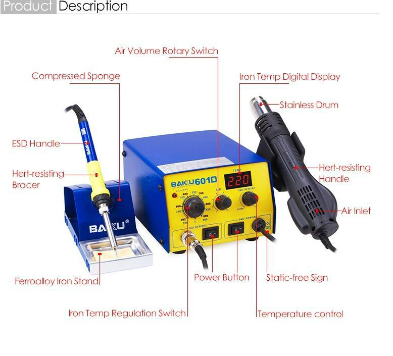 SMD Rework Soldering Station 852D Upgraded BK-601D For Heating BGA Digital Quick 4