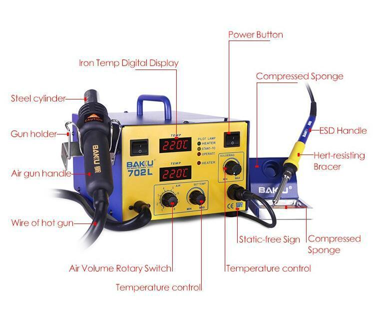 Baku BK-702L 2 in 1 professional BGA Digital display SMD Soldering Station With  5