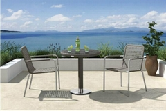 Single Chair And Table Rattan Wicker Aluminum Frame Tempered Glass Outdoor Garde