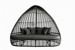 Hormel antique style rattan furniture poolside patio wicker outdoor daybed