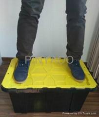Plastic swing lid storage tote