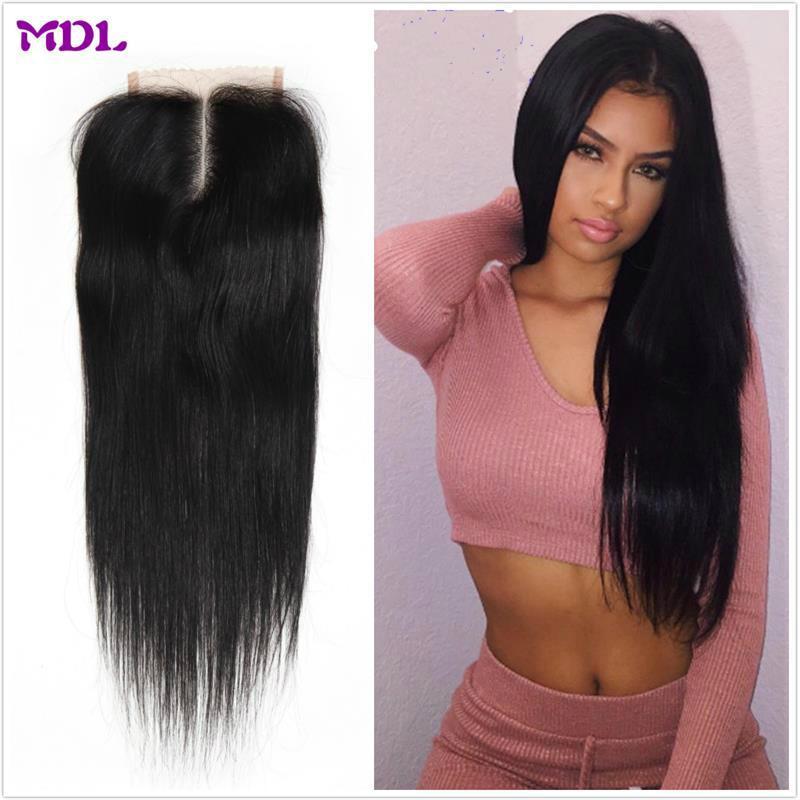 cheap virgin human hair 4*4 lace closure straight hair  1