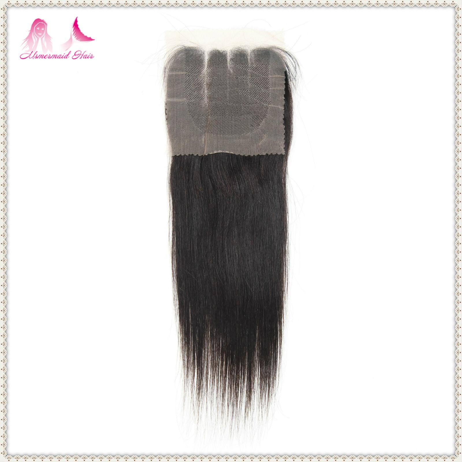 cheap virgin human hair 4*4 lace closure straight hair  2
