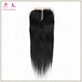 cheap virgin human hair 4*4 lace closure straight hair  3