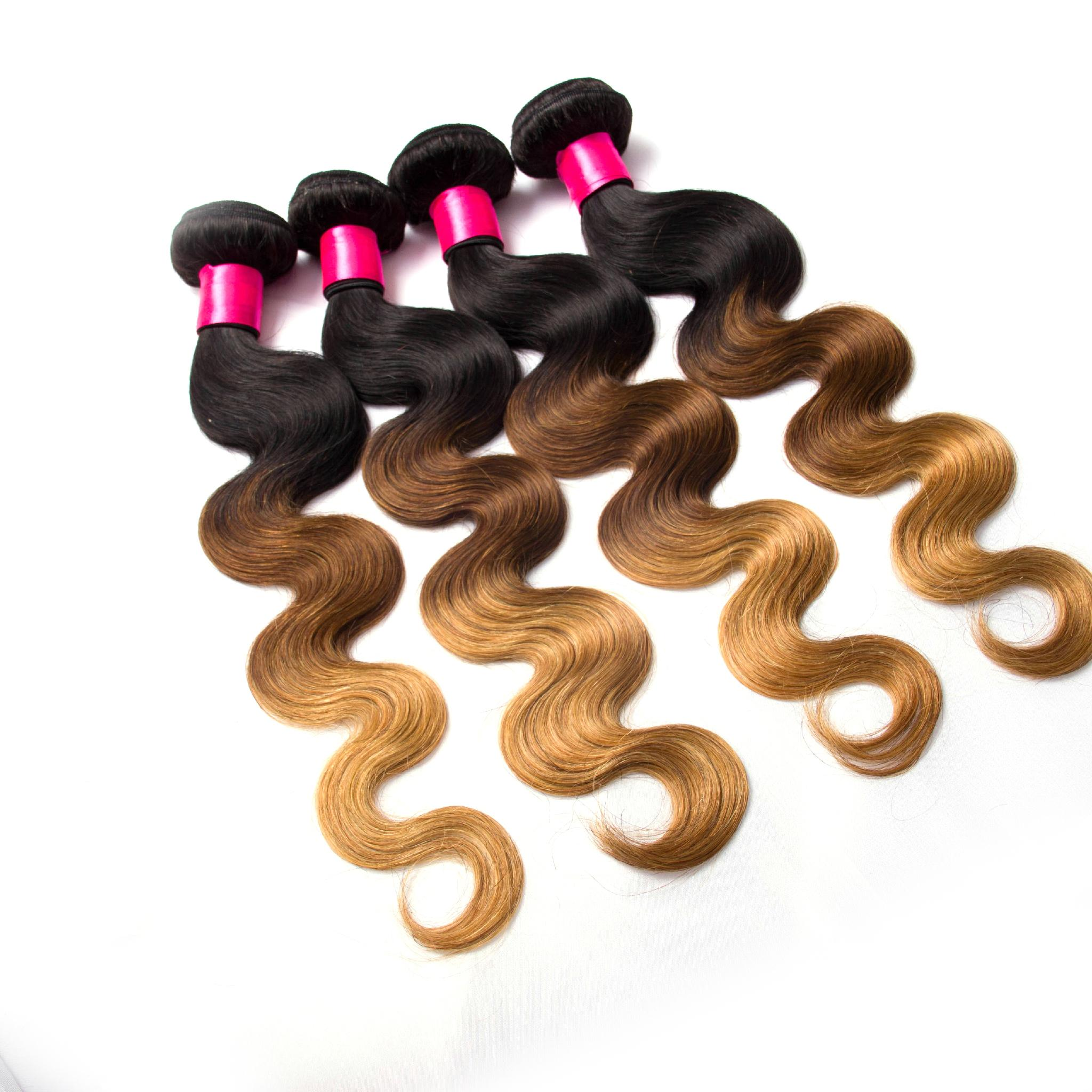 1/4/27 ombre body wave hair shedding free high quality virgin hair  1